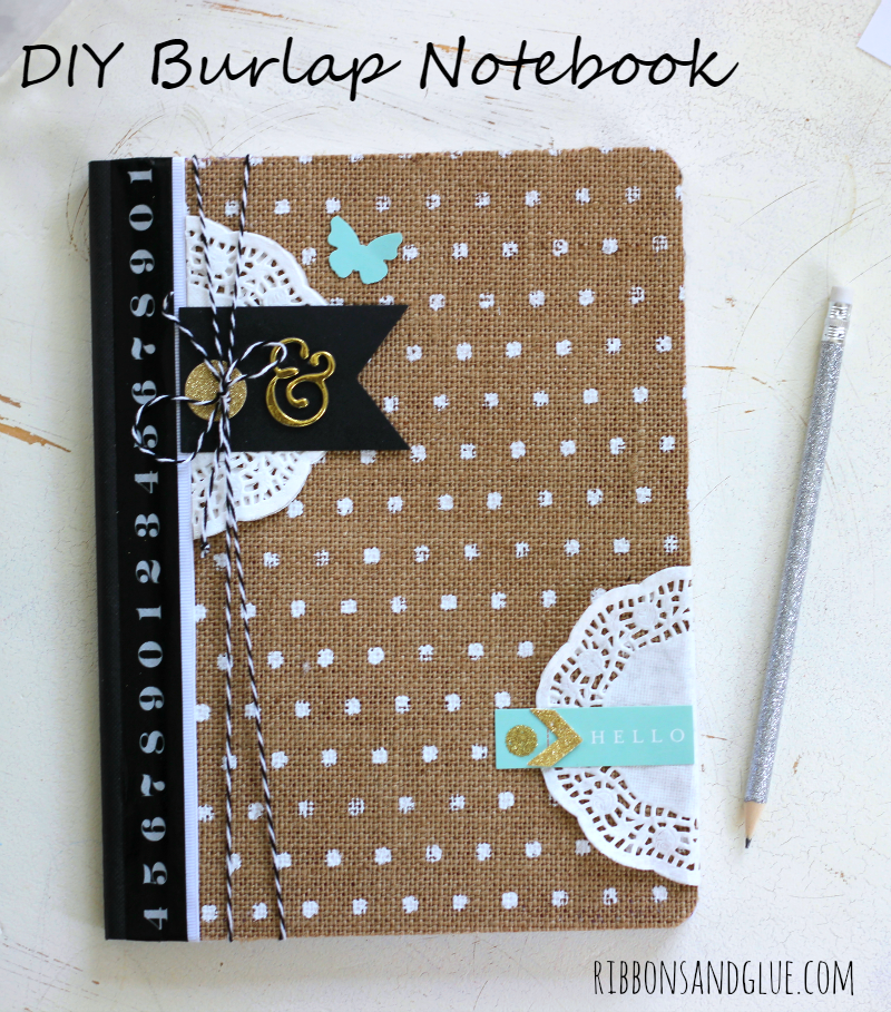 Diy Composition Book Cover ~ Diy burlap notebook ribbons glue