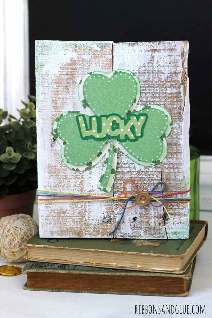 Shamrock Pallet Art made with Silhouette and scrapbooking paper created by @ribbonsandglue