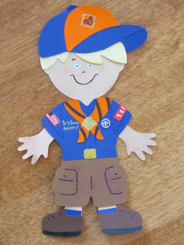 Tiger Cub Scout Die Cut made with Cricut Everyday Paper Doll Cartridge and personalized with scrapbooking pens