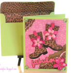 Pink, Green and Fabulous card made with Cricut Paisley