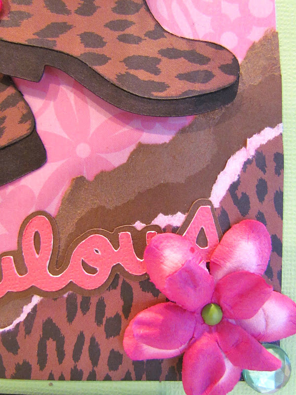 Card made with Cricut and Leopard Print Paper