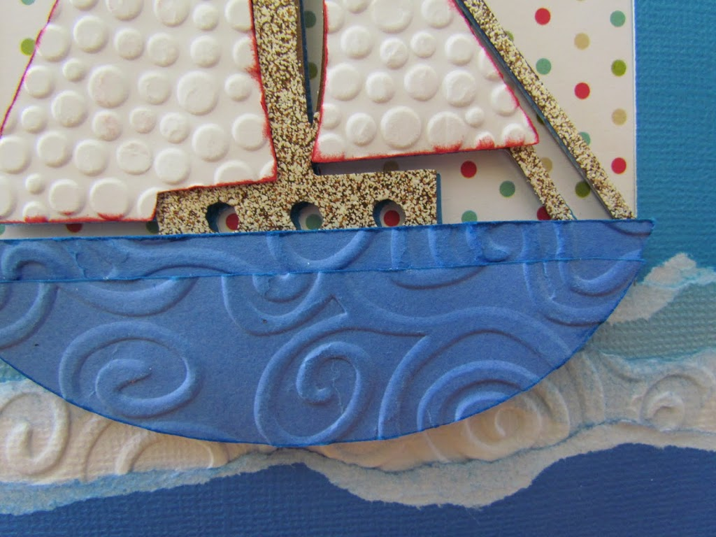 Texture and Heat Embossing on Sailboat Card