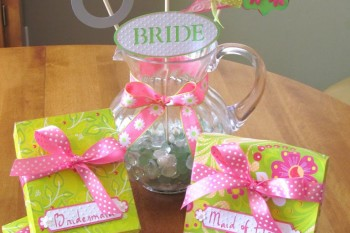 Bridal Luncheon Tablescape. Napkins, centerpiece and gift boxes all for those special Bridemaids