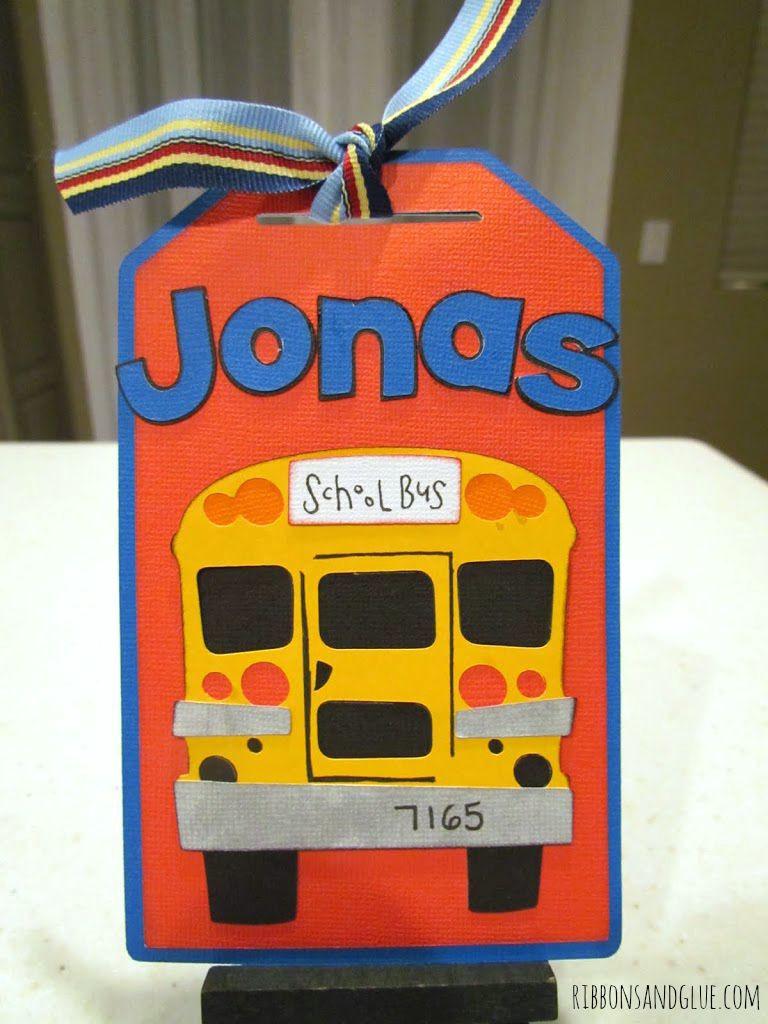 chool Bus Tag made with cricut