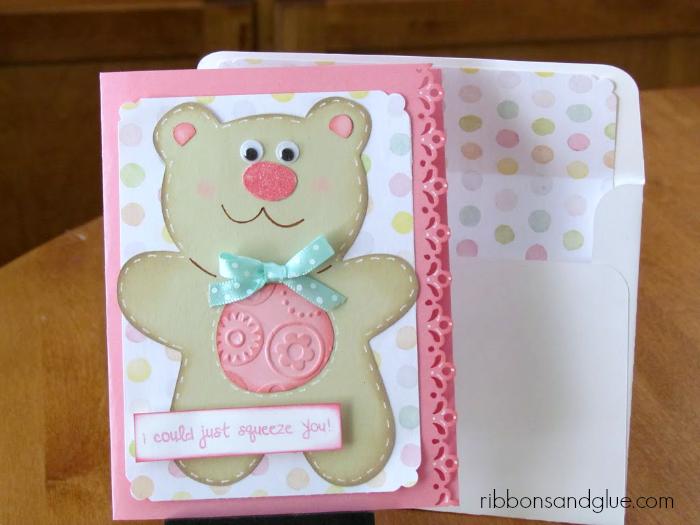 Teddy Bear Hugs Card made with Cricut Doodlecharms