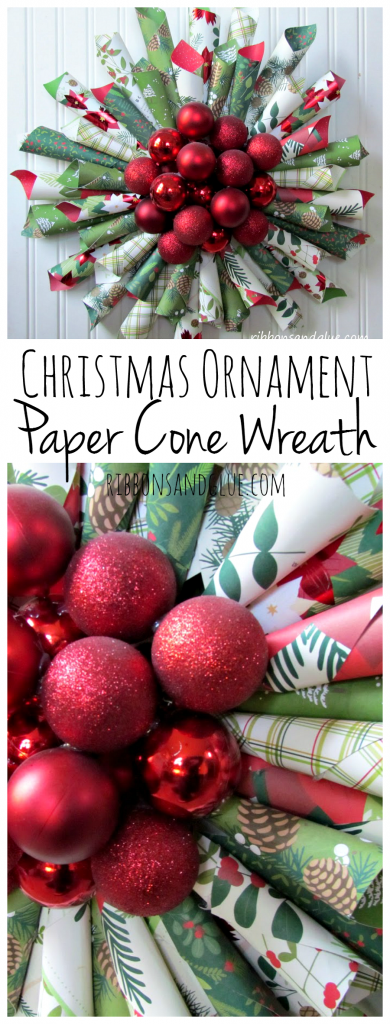 Christmas Ornament Paper Cone Wreath. So bright, bold and perfect for the Holiday Season!