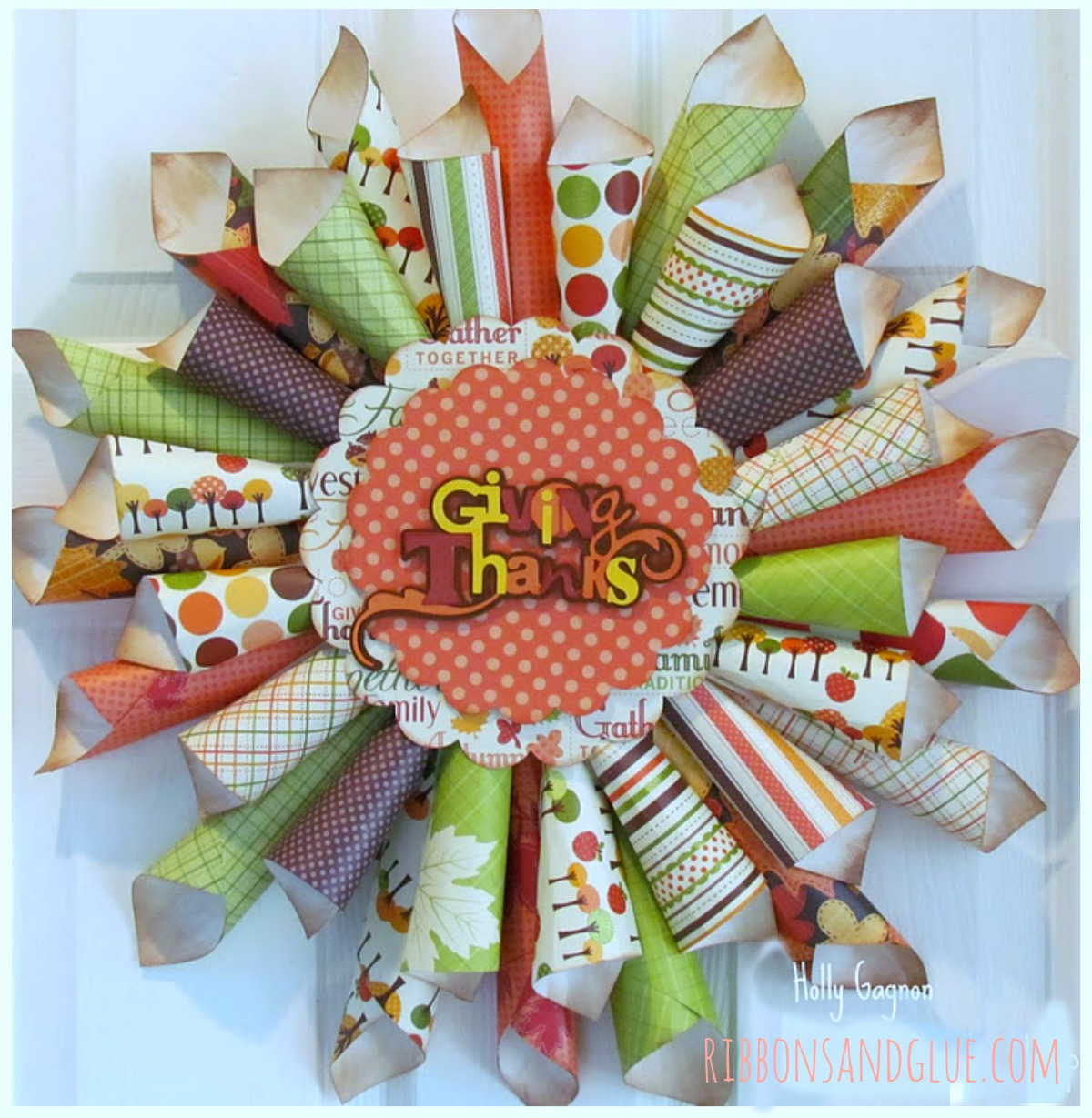Fall Paper Cone Thanks Wreath