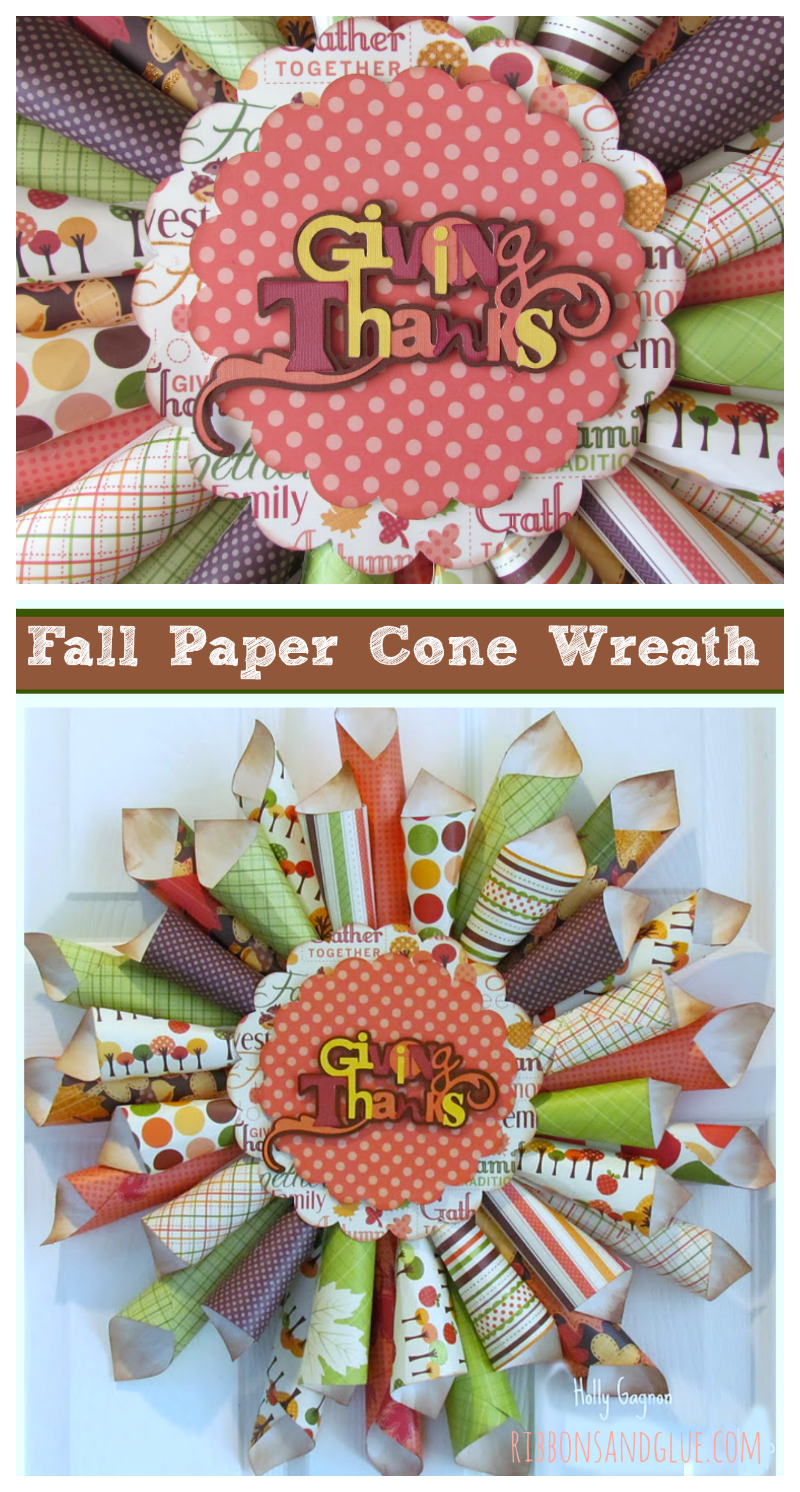 Fall Paper Cone Wreath made from rolled paper cones hot glued together. Such a pretty home decor idea for Fall.