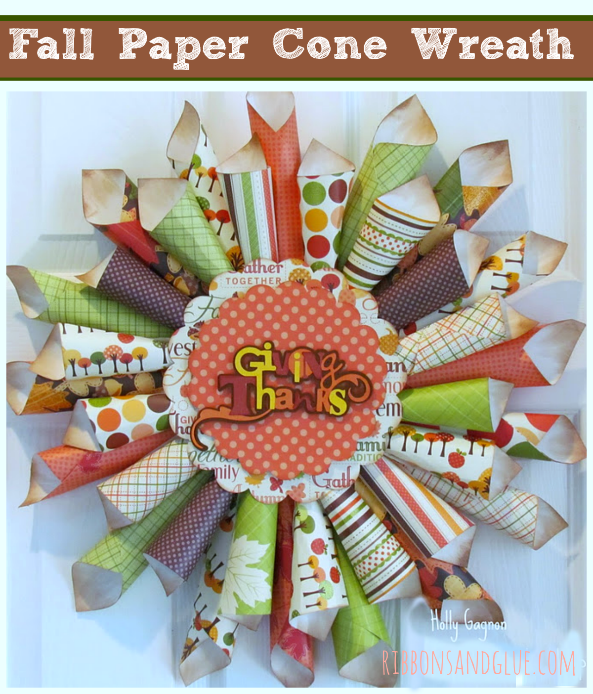 Fall Paper Cone Wreath made from rolled paper cones. So pretty for Fall!