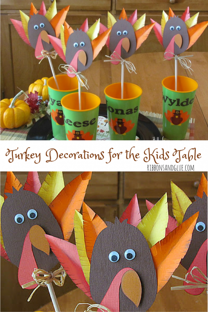 Don't forget about the kids table at Thanskgiving. DIY Turkey Decorations for the Kids Table