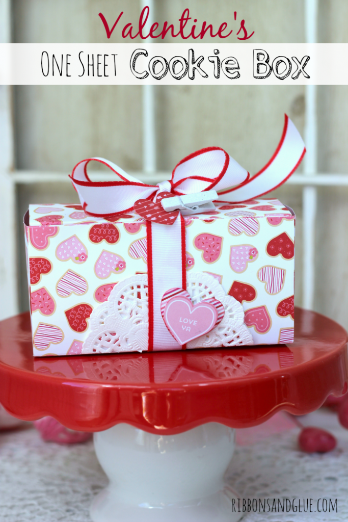 Valentine's One Sheet Cookie Box. Fill box up with all sorts of Valentine's treats and all you need is one sheet of Scrapbooking paper!
