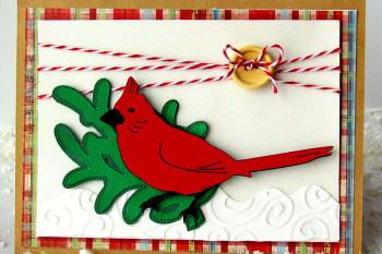 Christmas Cardinal Card made with Circut