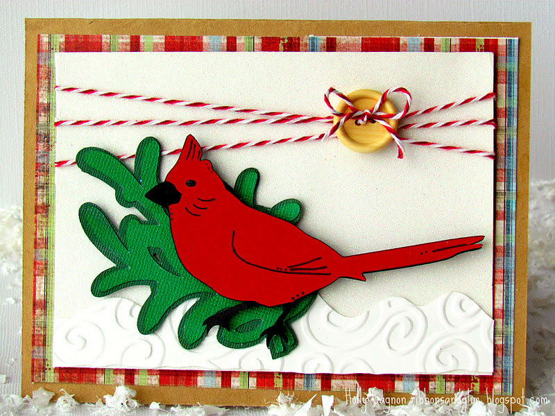 Christmas Cardinal Card made with Circut