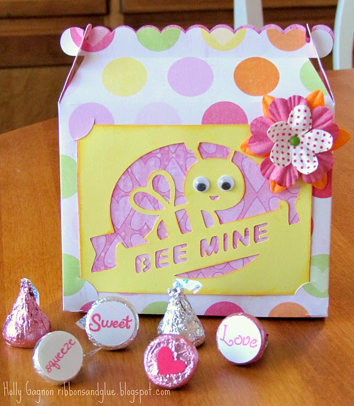 Valentine's Bee Mine Treat Box made with Cricut filled up with stamped chocolate kisses.