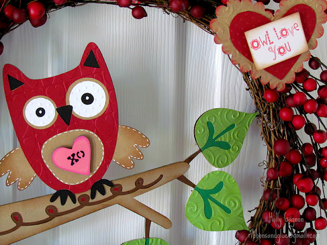 Valentine's Owl Love You Wreath . Christmas wreath  upcycled in to a  Valentine's Wreath by adding Owl die cuts using Cricut