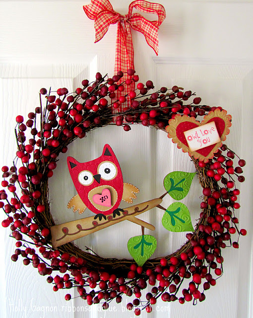 Valentines Owl Wreath
