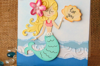 Mermaid Card made with paper tearing and chalking