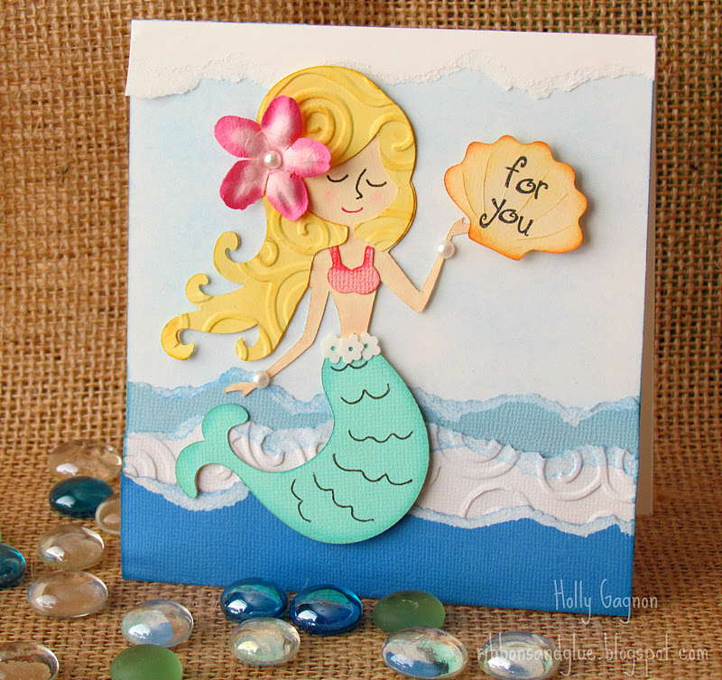 Tutorial on how tear paper and add chalk for enhancements. Cute Mermaid Card made with Cricut.