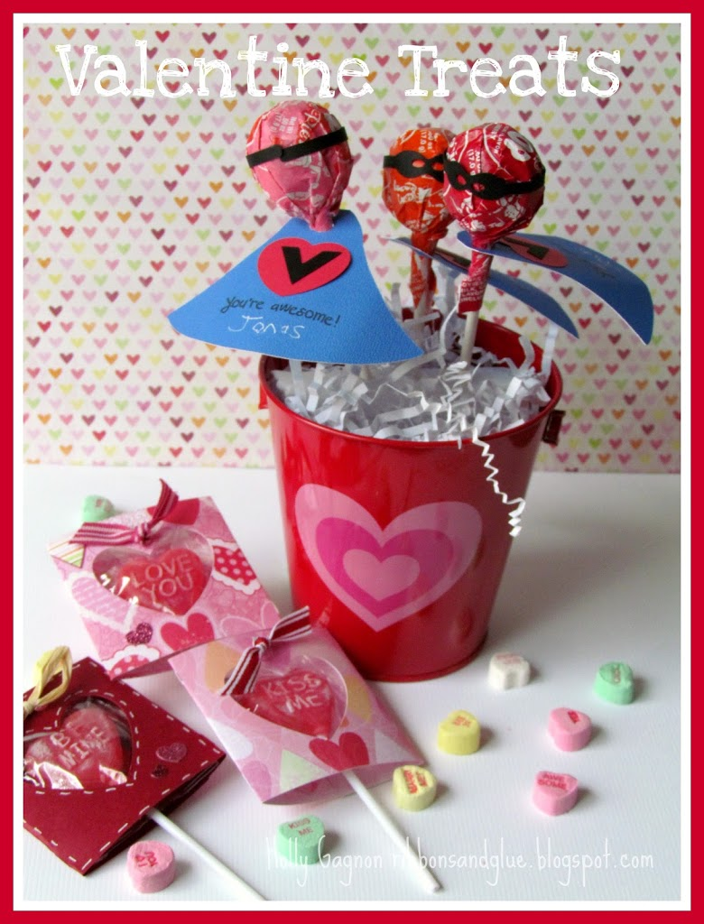Kids Super Hero Valentine's Treats. Superhero mask and cape on a lollipops. Such a fun and idea perfect for any Super Hero lover.