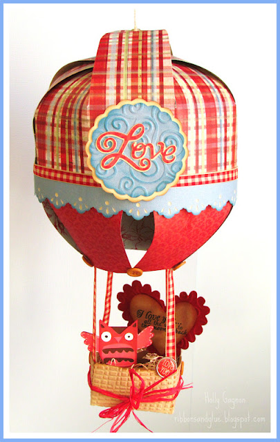 Valentine's Hot Air Balloon with a cute little owl in a basket all made with the Cricu die cutting machine. Such a unique Valentine's Decor idea!