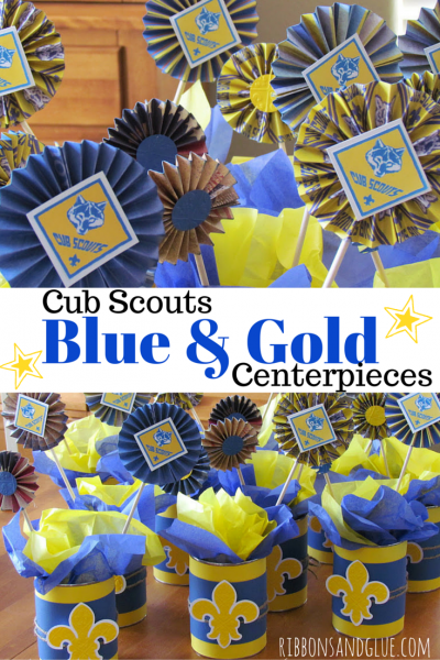 DIY Cub Scouts Blue and Gold Banquet Centerpieces. All you need iscrapbooking paper an empty coffee cans!