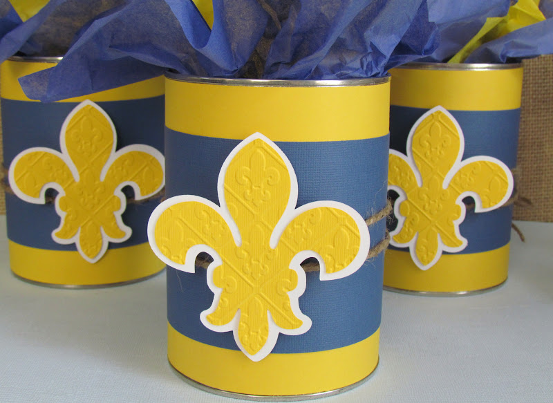 Cun Scout Blue and Gold Centerpieces from upcycled coffee cans