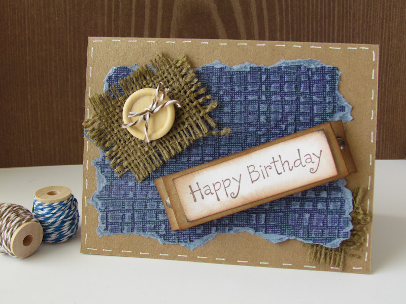 Burlap Birthday Card for the Guy