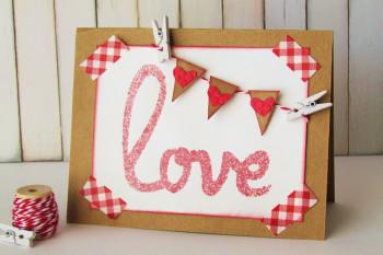 Valentine's Card Masking with Glimmer Mist