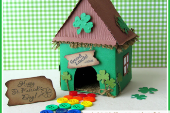 Leprechaun House for St. Patrick's Day made with Cricut and decorated with burlap.
