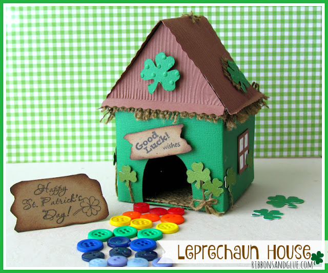 DIY Leprechaun House for St. Patrick's Day made with Cricut and decorated with burlap just in case you get lucky and catch one!