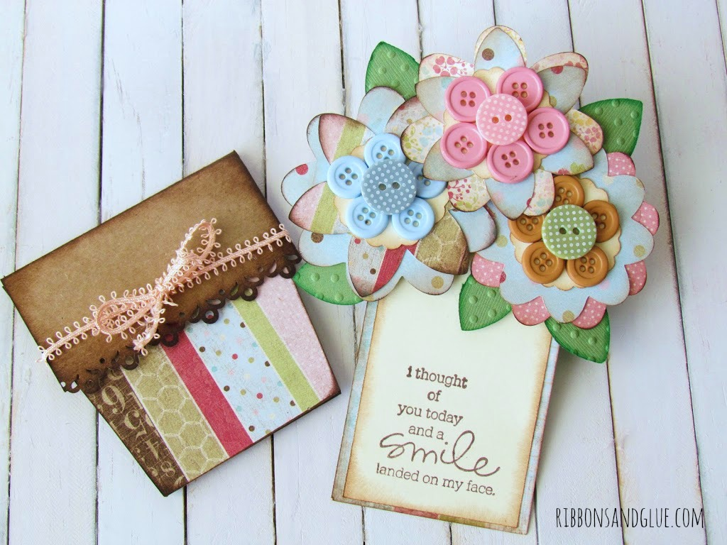 Flower Pot Button Card made with Cricut