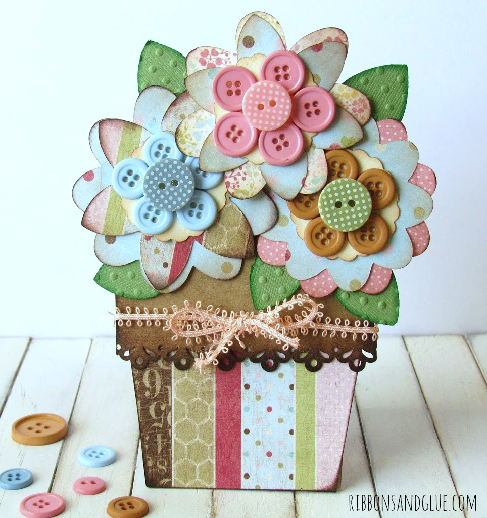 Button Flower Pot Card made with Cricut perfect for Mother's Day.