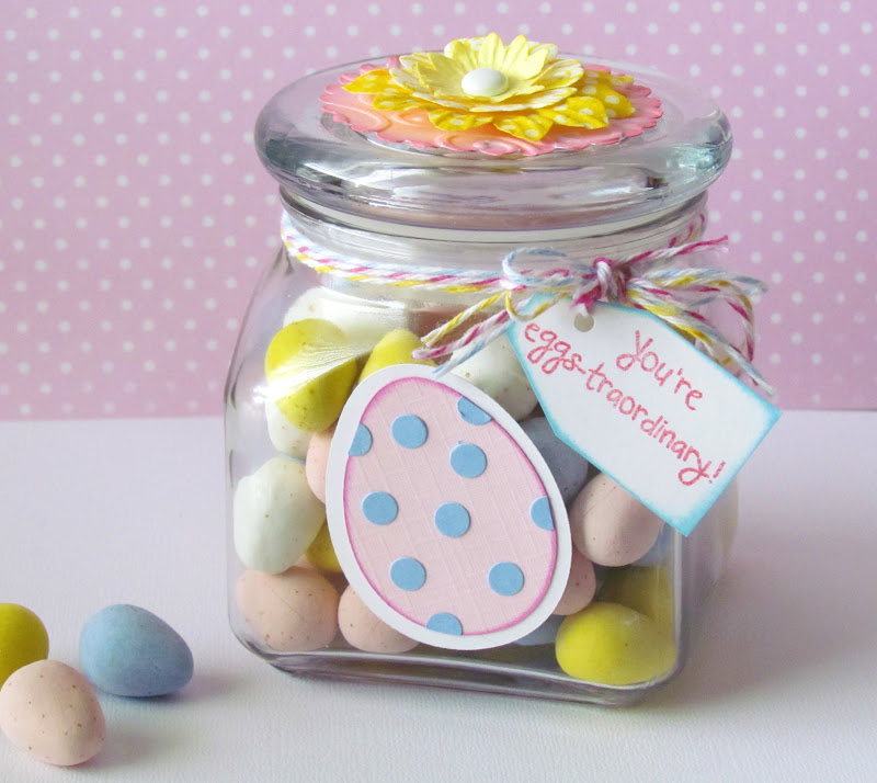 Simple Easter Egg Candy Gift Jar Idea. Fill jar up with candy, tie twine around top, adhere a Easter Egg die cut on front and attach a stamped sentiment. Super easy and cute Easter Craft Idea.
