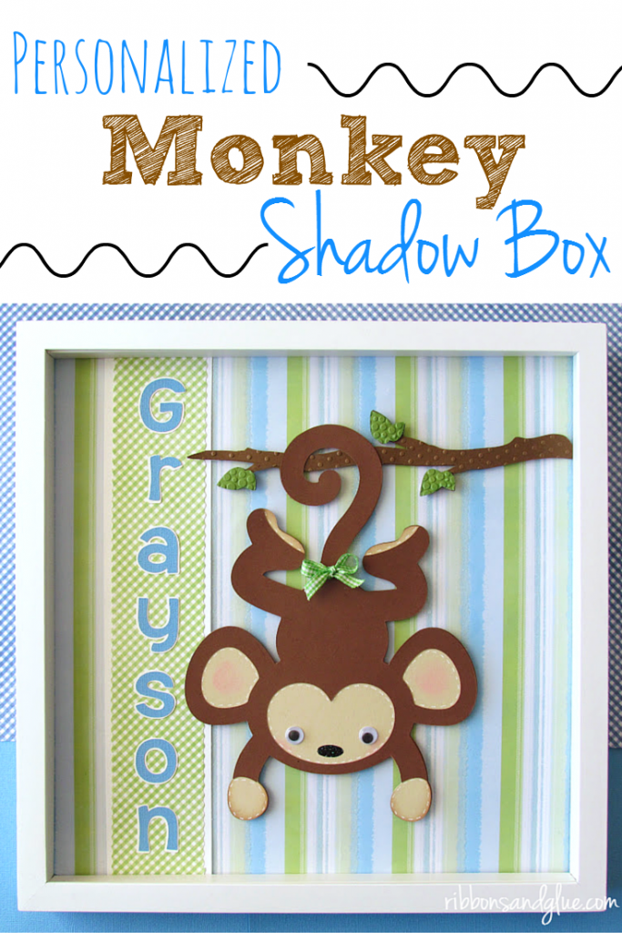 Personalized Monkey Shadow Box made with Cricut die cutting machine . 12 x 12 picture frame displays Monkey die cuts.