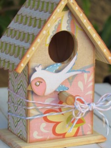 DIY Whimsical Birdhouse. Natural Wood Birdhouse decorated with scrapbooking paper and Mod Podge