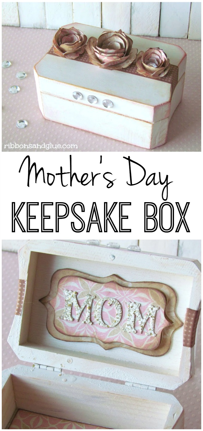 Mother's Day Box Keepsake Box made from a painted wood box and embellished with paper flowers and letters. Easy and thoughtful Mother's Day Gift Idea.