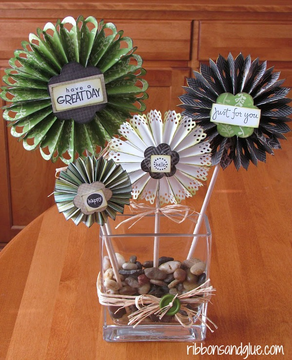 Rosette Bouquet Centerpiece made with Cricut. Perfect to make as Office Decor!