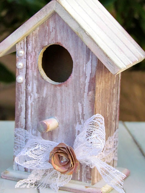 DIY Shabby Chic Birdhouse. Natural Wood Birdhouses decorated with scrapbooking paper and Mod Podge