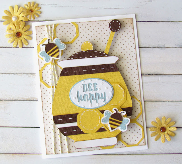 Bee Happy Card made with Cricut die cutting machine and Just Because Cartridge.