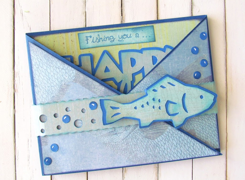 Crisscross  Father's Day Card made with fish  die cuts perfect for any fish lovin dad