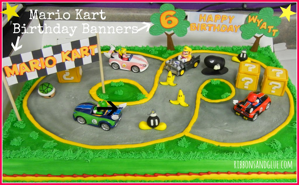 Fine Mario Kart Birthday Cake Banner Personalised Birthday Cards Sponlily Jamesorg