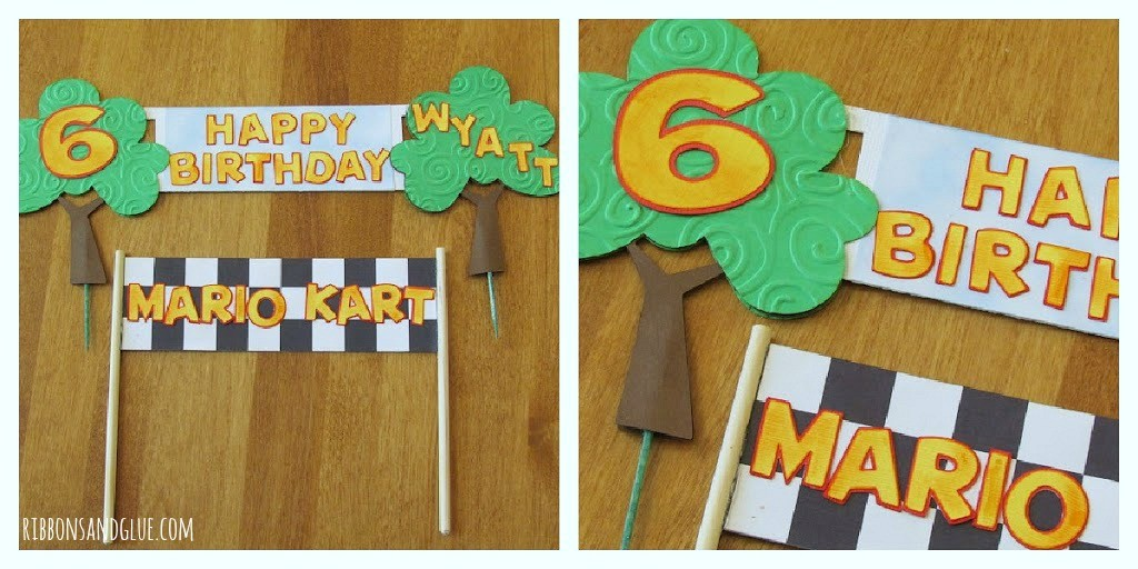 Personalized Mario Kart Banner made of paper to use a cake topper.