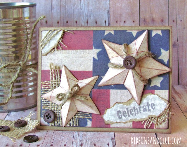 Rustic Star Card made with dimensional stars.