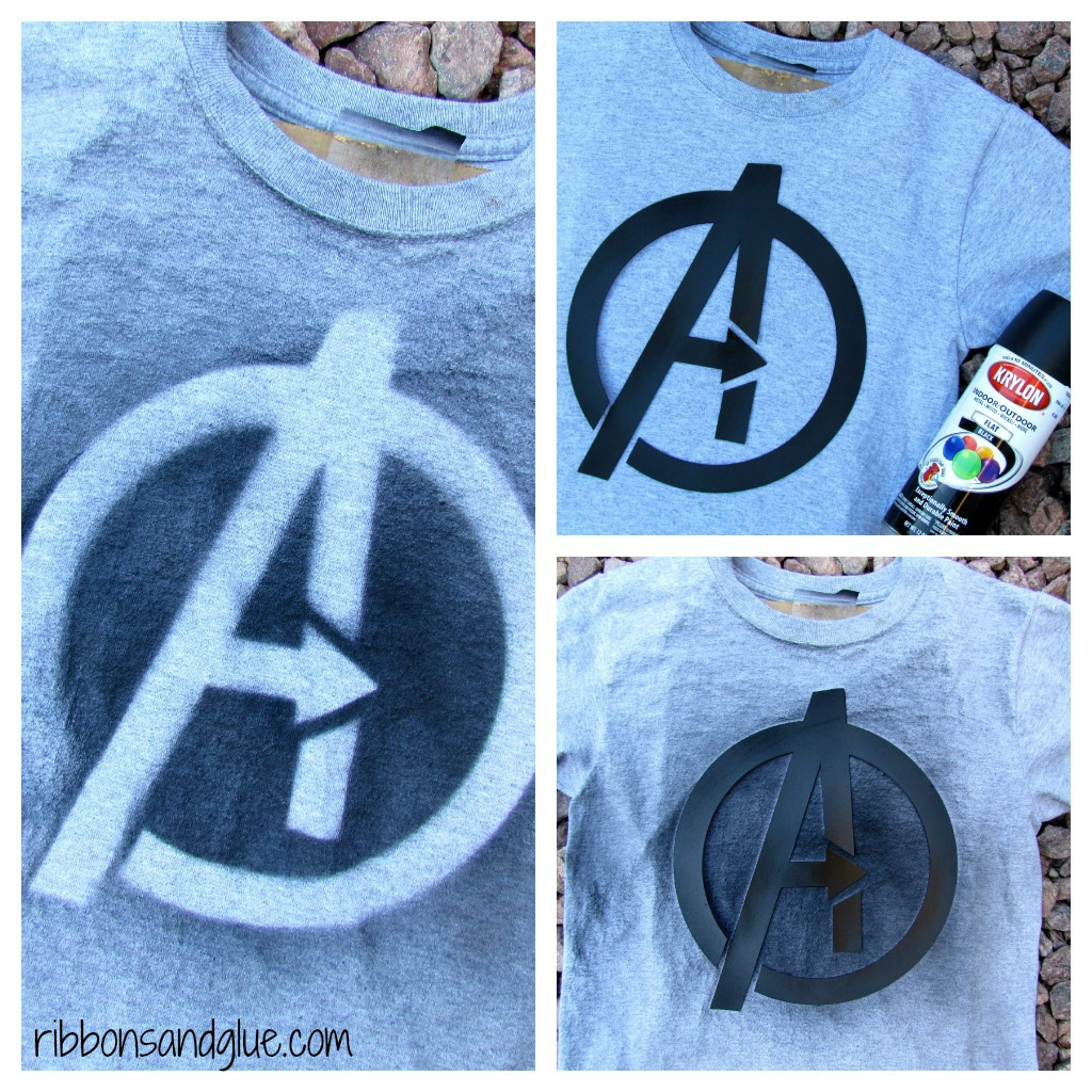 DIY Spray Painted Avengers T- Shirts, easy party favors made with @krylon