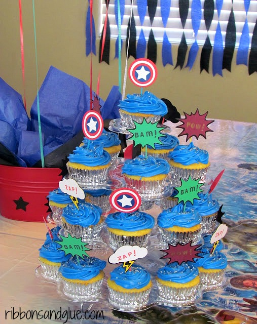 DIY Avenger Cupcakes with Avenger Cupcake toppers. Hulk, Captain American , Thor and Iron Man.