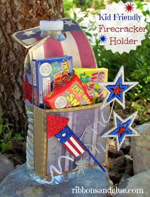 DIY Kid Friendly Firecracker Holder. Fits on drink bottle and perfect size to hold Kid-Friendly Firecrackers or Snacks.