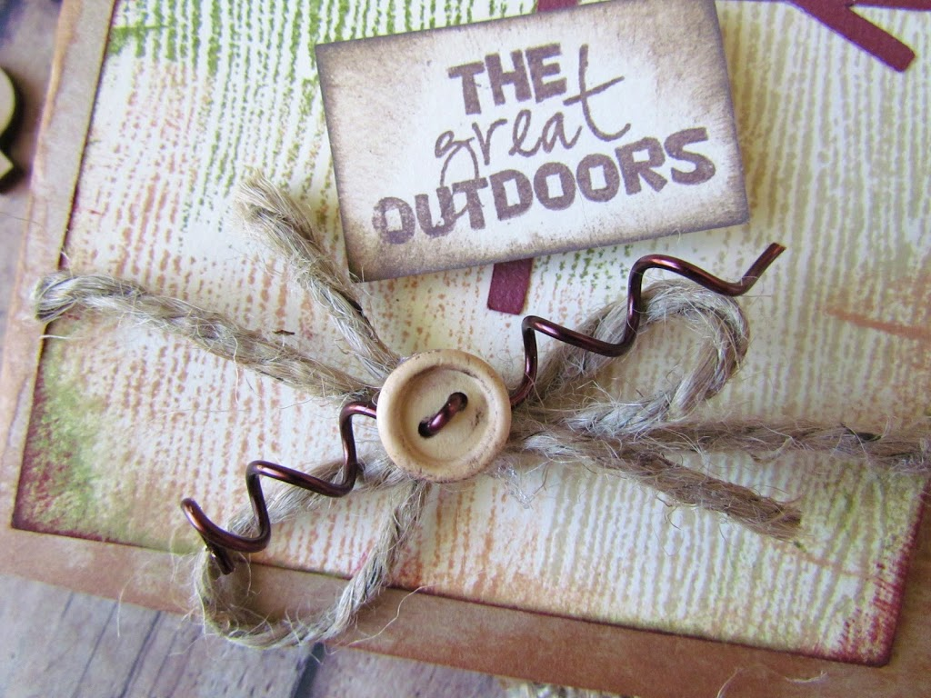 Great Outdoors Rustic Card made with wood grain stamp