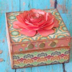 Dollar Store Gift Box decoupaged with patterned paper and Cricut Flower Shoppe Flower