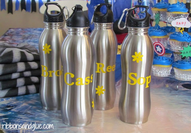Personalized Water Bottles Party Favors. Dollar Store Water Bottles and yellow vinyl