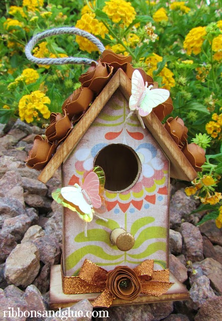 Butterfly Birdhouse decoupaged with Mod Podge and rolled flowers